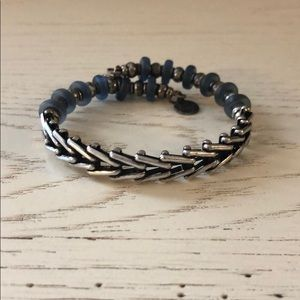 Alex and Ani Silver and blue bead wrap